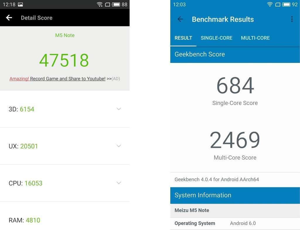 тестирование производительности Meizu M5 Note