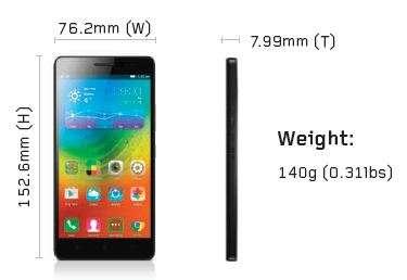 Размеры Lenovo a7000