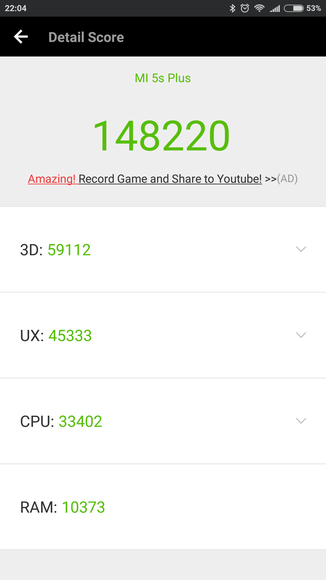 Результат в AnTuTu Xiaomi Mi 5s Plus
