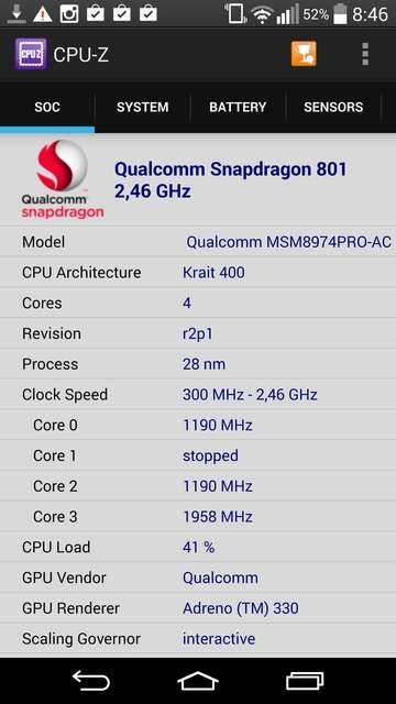 LG G3 Информация о процессоре