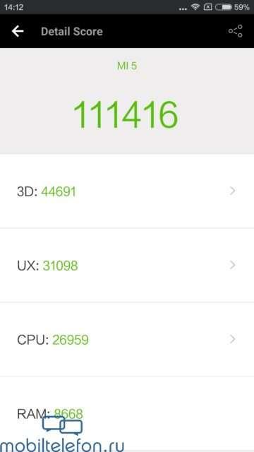 Результат в AnTuTu Xiaomi Mi 5