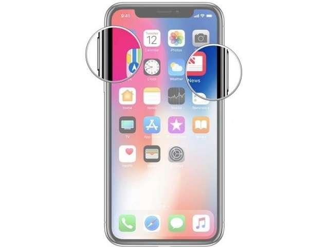 выключение iPhone X с помощью клавиш