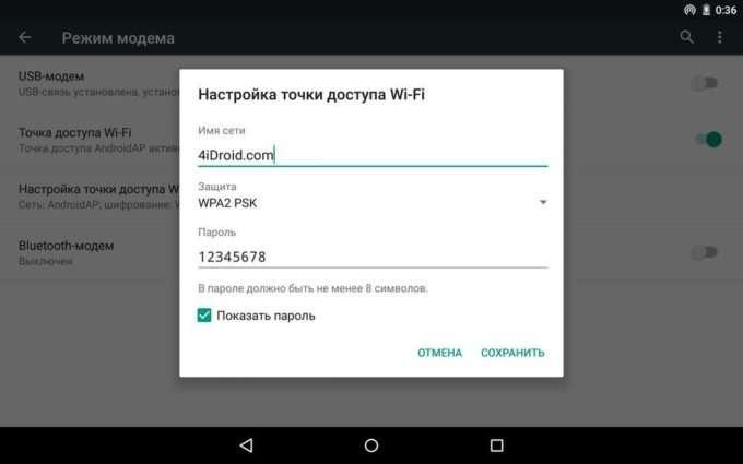 Настройки точки доступа Wi-Fi