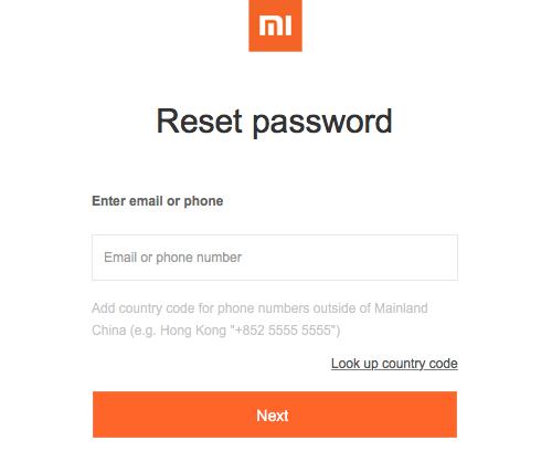 сброс пароля от аккаунта xiaomi