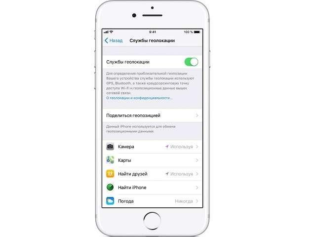 Деактивация напоминаний на iPhone с помощью службы геолокации