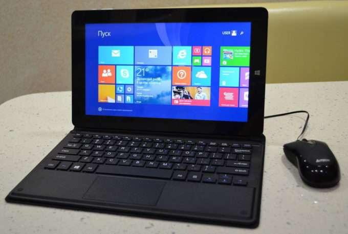 клавиатура и мишь подключены к планшету