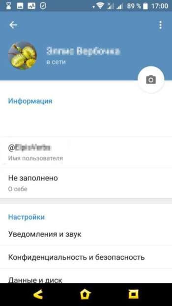 профиль в телеграме