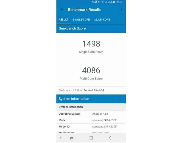 Samsung Galaxy a8 (2018) Geekbench тест