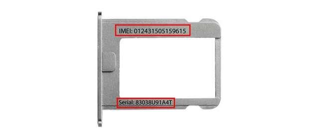 IMEI на выдвижном лотке SIM‑карты