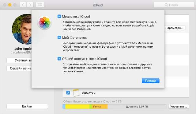 Выгрузка фото в Mac OS