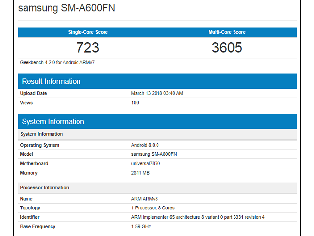 Samsung Galaxy A6 GeekBench