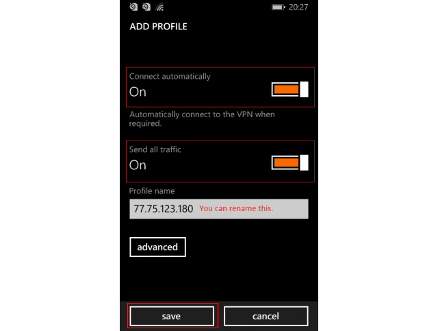 vpn на Windows Phone