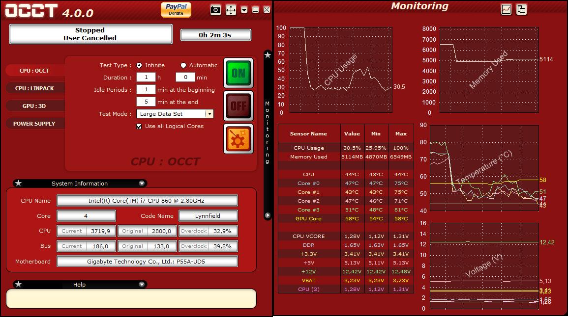 Интерфейс программы OCCT