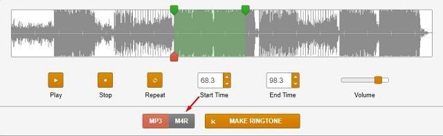 обрезка аудио в Ringer