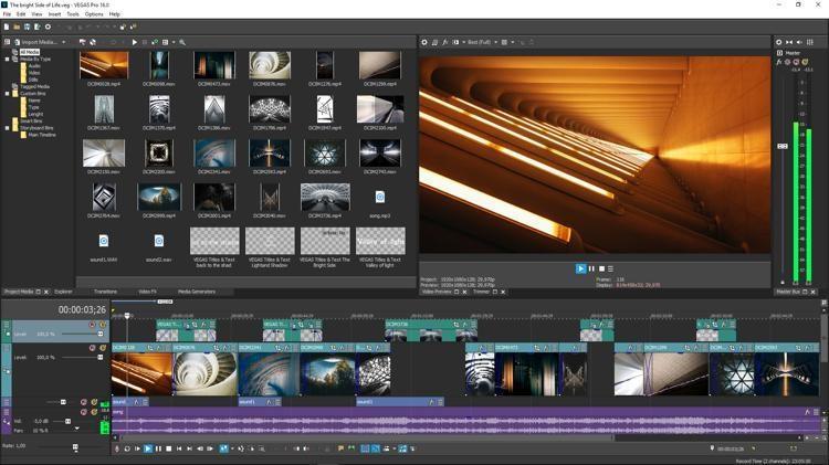 Интерфейс программы VEGAS Pro 16 Edit
