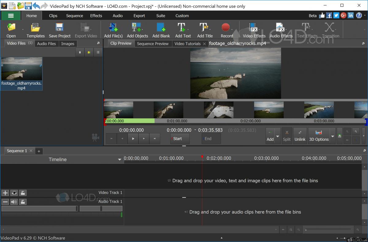 Интерфейс программы VideoPad