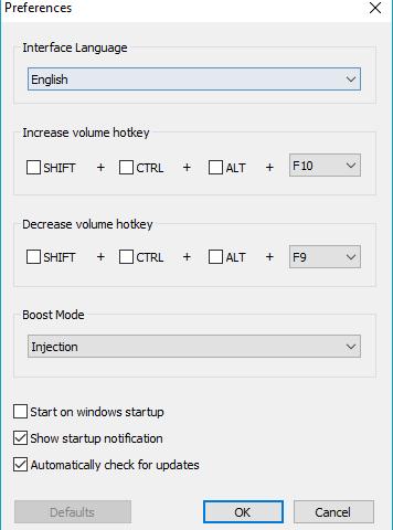 Интерфейс программы Sound Booster