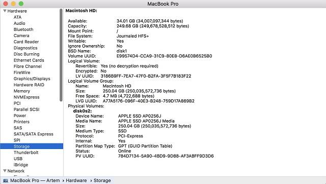 Информация о системе mac