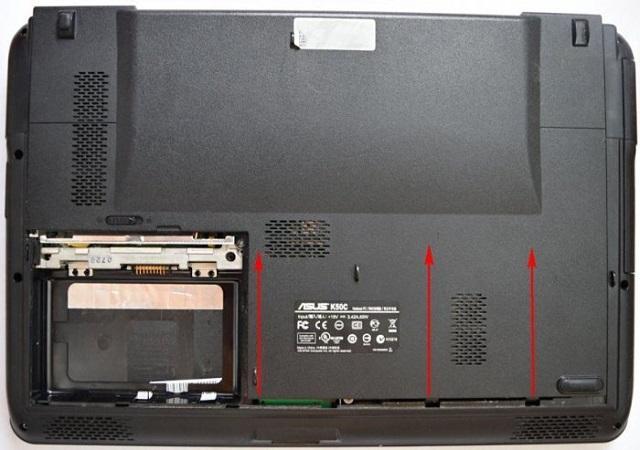 снятие задней части корпуса ноутбука