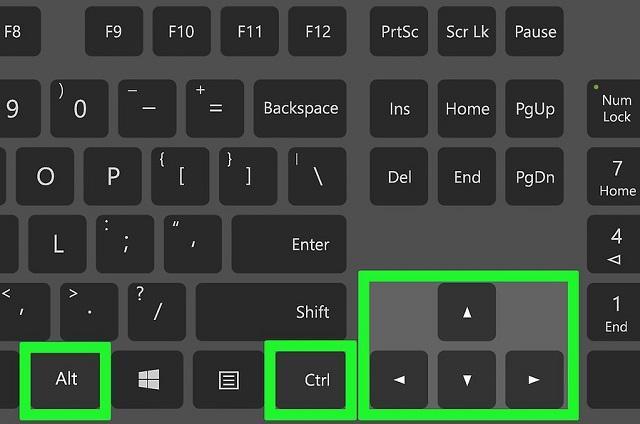 поворот экрана с помощью клавиатуры