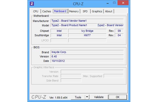 CPU-Z вкладка Mainboard