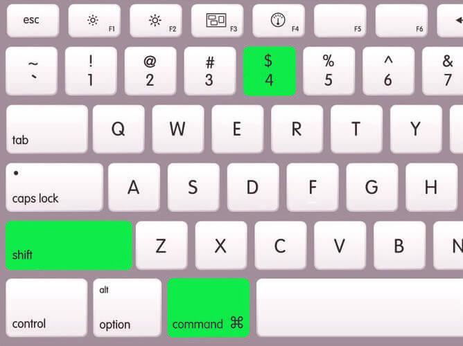 сочетание клавиш Shift+Command+4