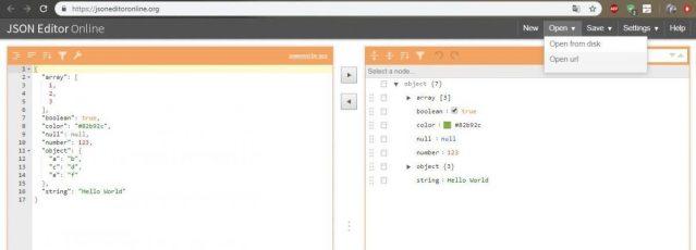 открытие файла в Json Editor Online