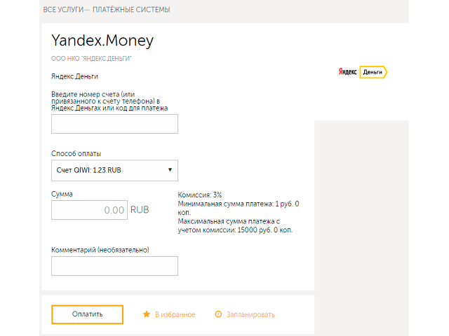 Перевод с Киви на Яндекс.Деньги