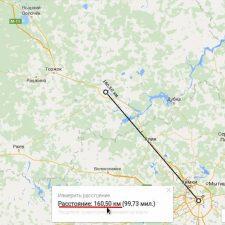 измерение расстояния на онлайн карте