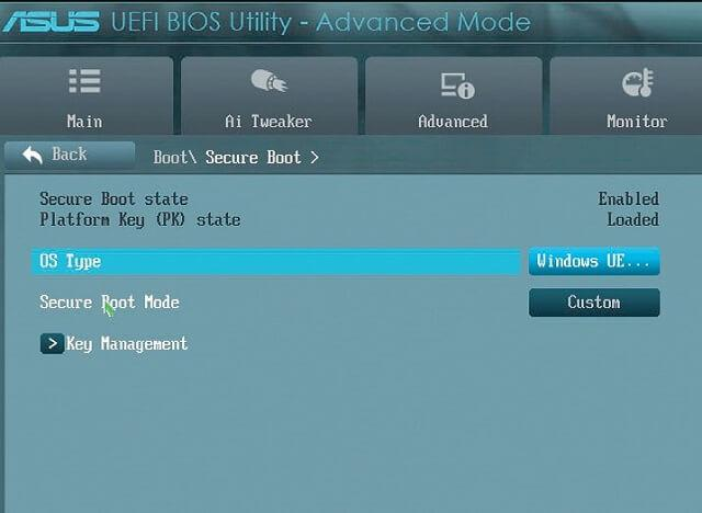 Отключение функции «Secure Boot»