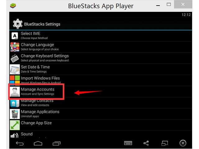 Bluestacks Управление контактами