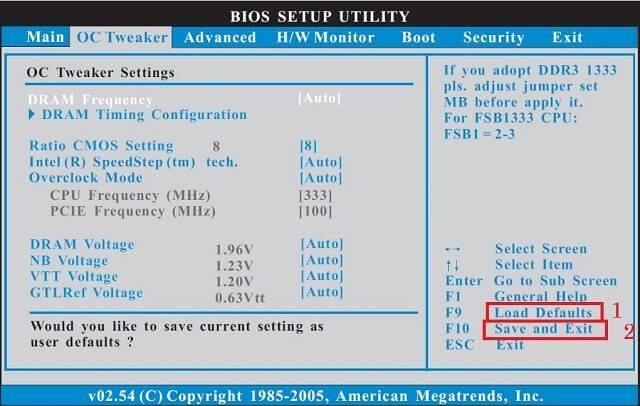 Сброс настроек BIOS по умолчанию