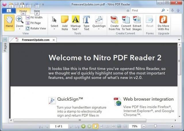 Как открыть PDF с помощью Nitro PDF Reader