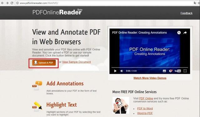 Как открыть PDF с помощью онлайн-сервиса PDF Online Reader